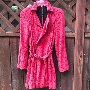Red lace long jacket
